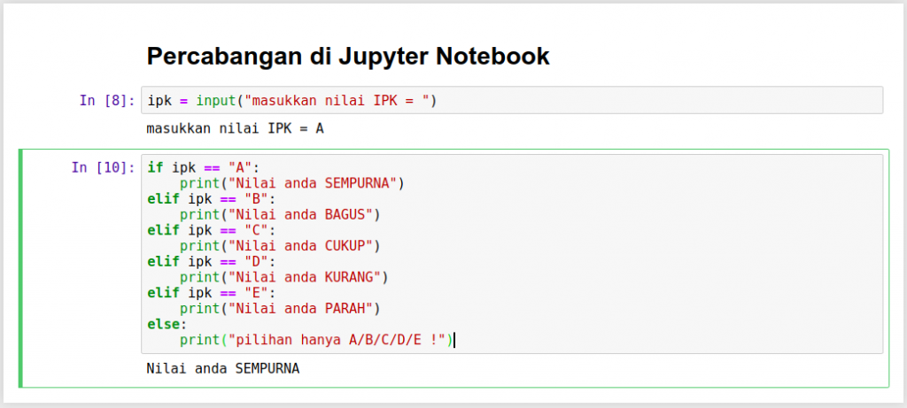 Percabangan di Jupyter Notebook